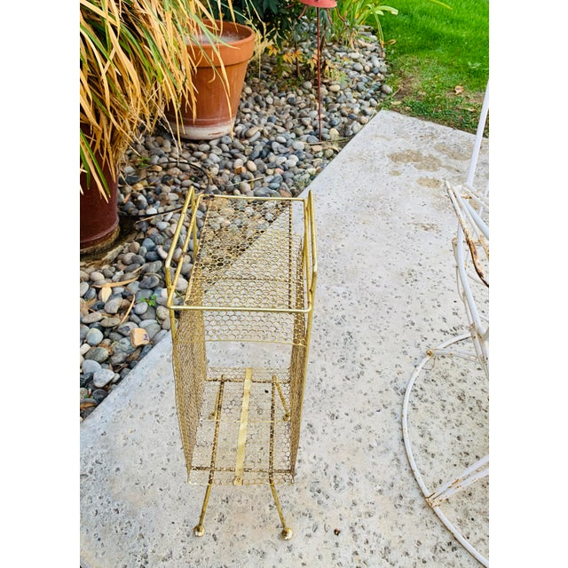 Tony Paul Atomic Modern Mid Century Modern Brass Phone Stand 1950s Googie Gold Retro Telephone Table Duchin Galef Style For Sale - Image 4 of 9