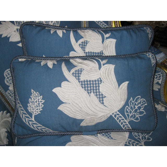 Blue & White Embroidered Pillows - a Pair - Image 3 of 3