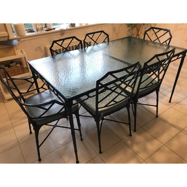 Brown Jordan Hollywood Regency Brown Jordan Navy Blue Metal and and Glass Dining Set - 7 Pieces For Sale - Image 4 of 9