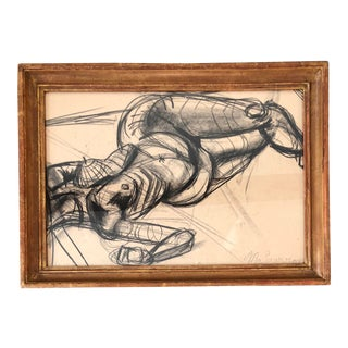 Original Vintage Modernist Female Nude Charcoal Study Signed For Sale