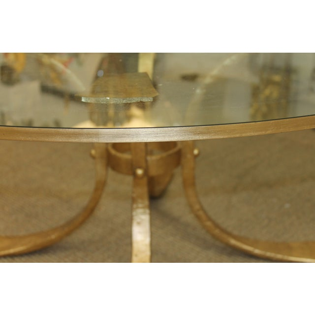 Hollywood Regency Gold Base & Glass Top Coffee Table For Sale - Image 3 of 7
