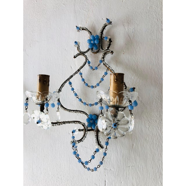 French Lavender Opaline Beads Beaded Sconces, circa 1920 For Sale In Los Angeles - Image 6 of 10