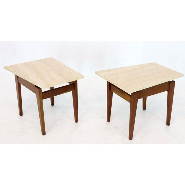 Risom Walnut End Tables W/ Wedge Shape Travertine Marble Tops - A Pair For Sale - Image 13 of 13