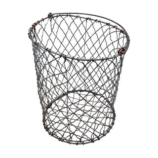 Vintage American Industrial Wire Basket For Sale