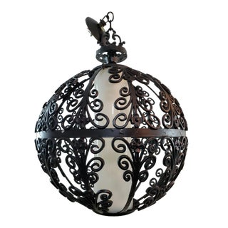 1960s Mid Century Black Wrought Iron Indoor Outdoor Orb Spanish Ceiling Hanging Light Lamp With Shade For Sale