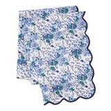 Image of Blue Floral Scalloped Rectangle Tablecloth For Sale