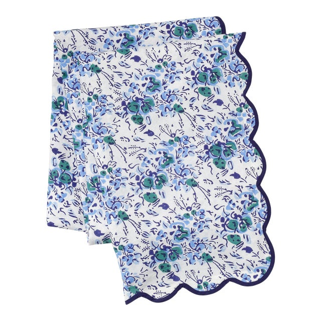 Blue Floral Scalloped Rectangle Tablecloth For Sale