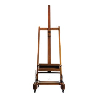 Mexican Early 1950 Mahogany Wood Adjustable Artist Easel For Sale