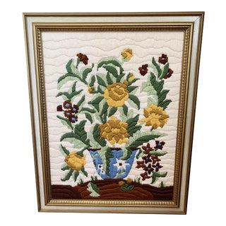 Vintage Framed Floral Crewel Work Textile Art For Sale