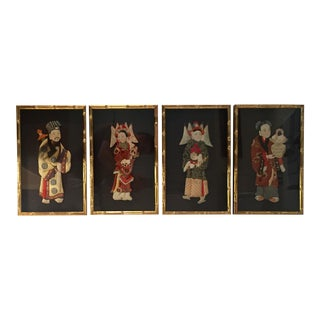 Chinese Silk Paper Dolls, Framed - Set of 4 For Sale