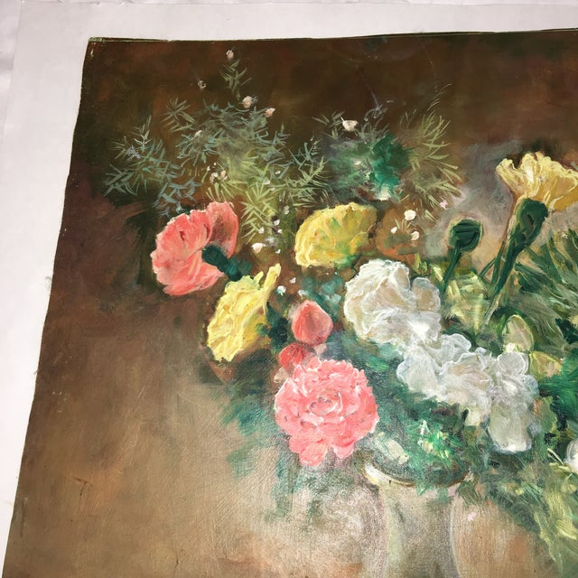 Flower Vase Oil Painting on Board For Sale - Image 5 of 9