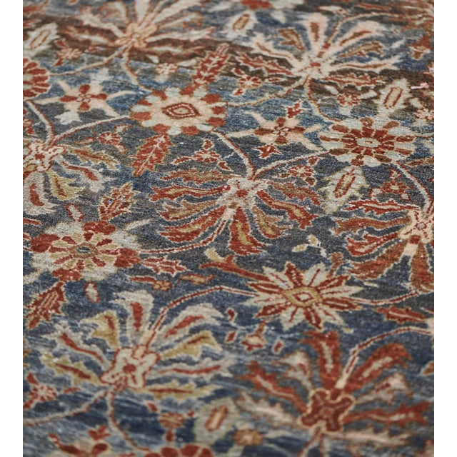 Navy Blue Late 19th Century Handwoven Malayer Wool Rug For Sale - Image 8 of 10