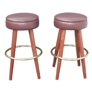 Mid-Century Modern Brown Vinyl Bar Stools - A Pair For Sale