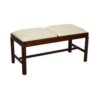 Henkel Harris Solid Mahogany Chippendale Style Upholstered Bench