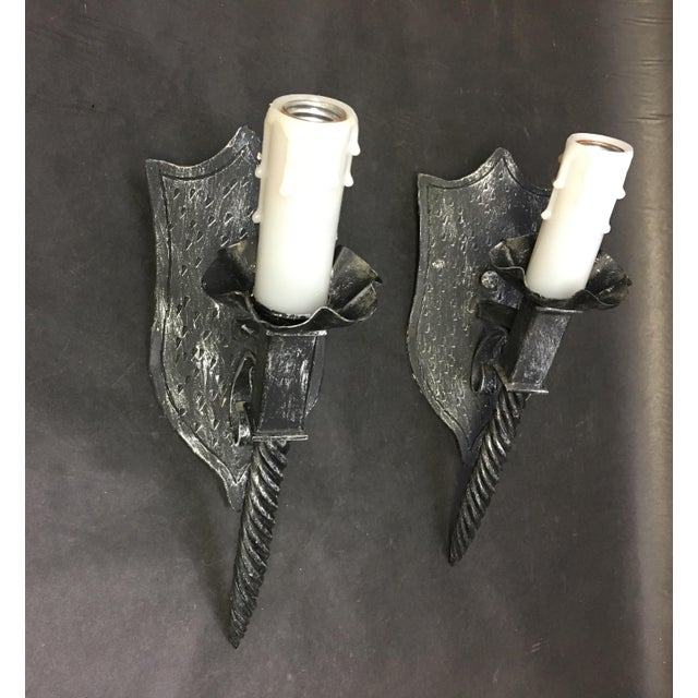 1940s Vintage Black Wrought Iron Torch Light Sconce - a Pair For Sale - Image 11 of 11