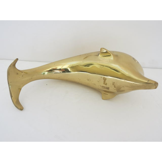 1980s Contemporary Brass Dolphin Figurine For Sale - Image 4 of 6