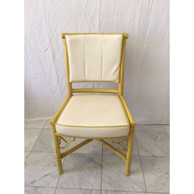 Vintage Daffodil Yellow Rattan Dining Chairs - Set of 6 - Image 5 of 11