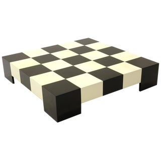 Checkerboard Coffee Table by Milo Baughman Black and White, Signed Thayer Coggin