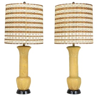 Pair of Palatial Terra Cotta Table Lamps With Acanthus Leaf Detail For Sale