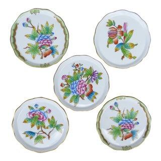 Herend Floral Motif Porcelain Coasters - Set of 5 For Sale