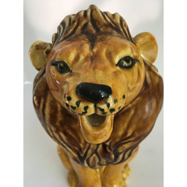 Ceramic Vintage Italian Hand Painted Roaring Lion Pitcher For Sale - Image 7 of 11