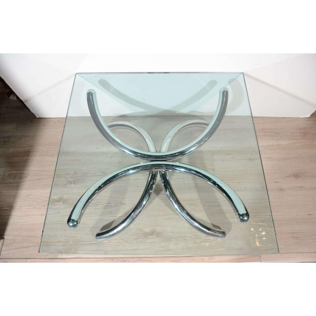 Silver Italian Mid-Century Modern Coffee Table with Sculptural Base Design For Sale - Image 8 of 13