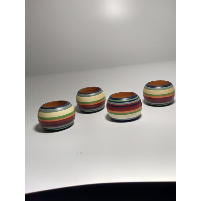Vintage Round Multi Colored Striped Napkin Rings - Set of 4 For Sale - Image 4 of 6