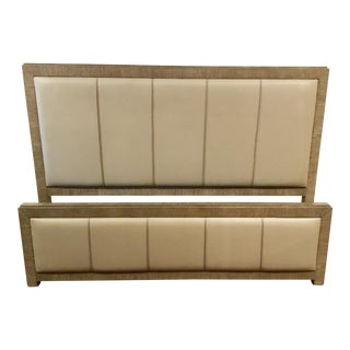Caracole Modern Wood and Leather Fusion King Bed For Sale