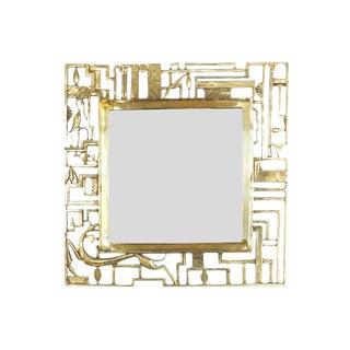 Attr. Karl Hagenauer Brass Wall Mirror, Austria 1930