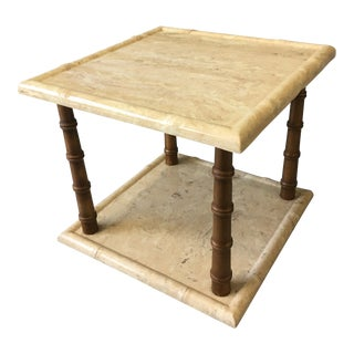 Vintage Faux Bamboo and Travertine Side Table For Sale