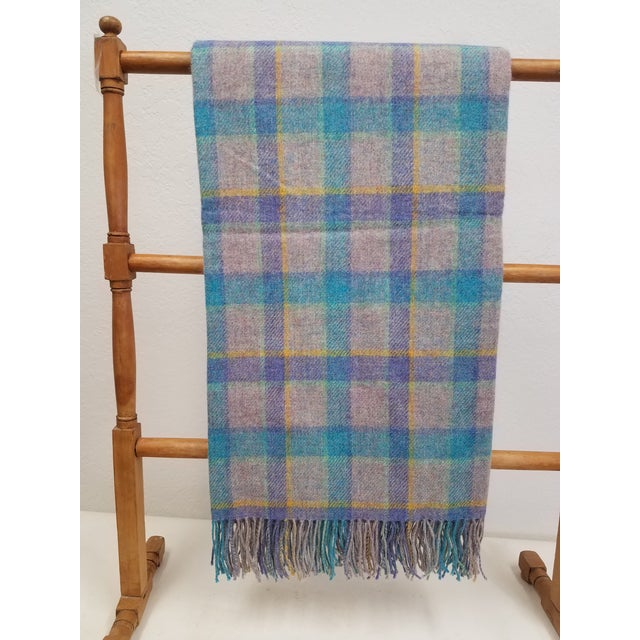 Wool Throw Blue and Purple Stripes on a Gray Background - Made in England For Sale - Image 11 of 11