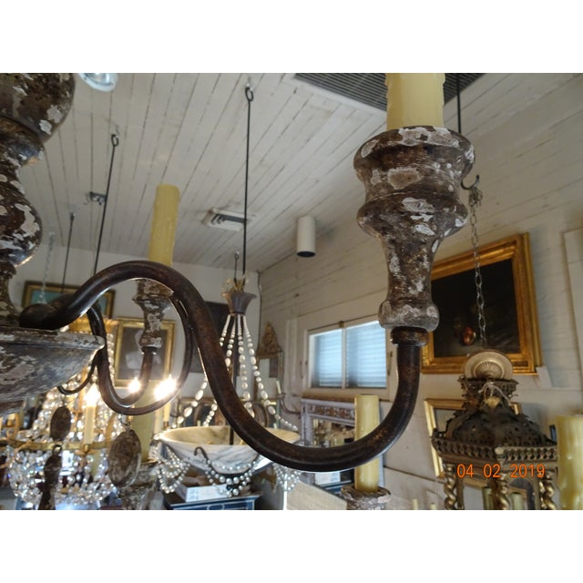 White Italian Wood & Iron Chandelier For Sale - Image 8 of 13