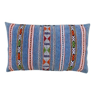 Blue Striped Moroccan Berber Pillow For Sale