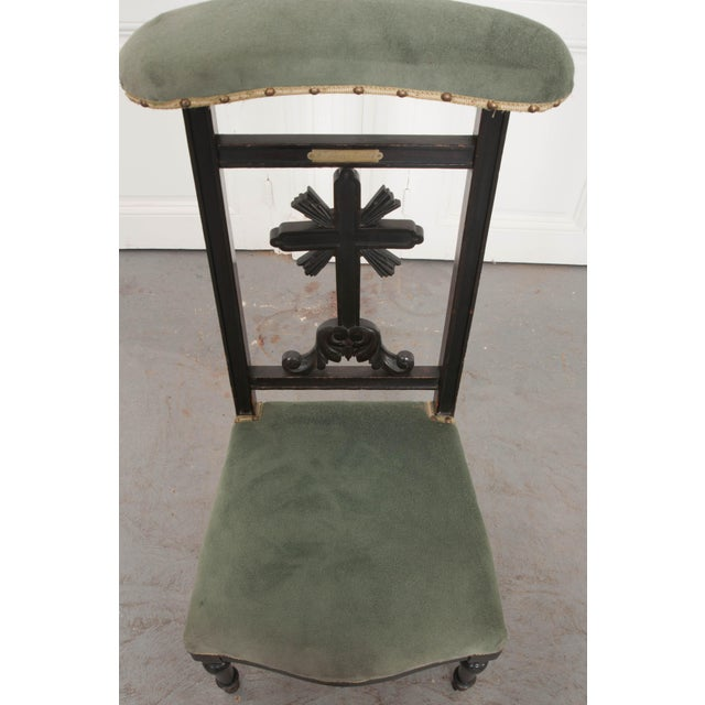 Green French 19th Century Upholstered and Ebonized Prie Dieu For Sale - Image 8 of 13