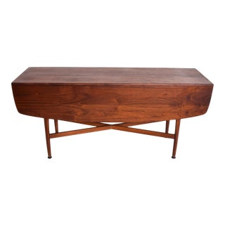 Mid Century Modern Rare Walnut Drop Leaf Dining Table by Kipp Stewart for Drexel For Sale