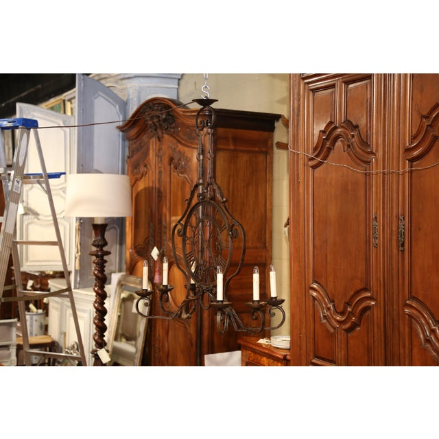 Early 20th Century Early 20th Century French Six-Light Iron Clock Chandelier With Original Finish For Sale - Image 5 of 10