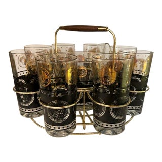 1970s Gold & Black Cocktail Highball Glasses with Ice Bucket & Caddy - Set of 10 For Sale
