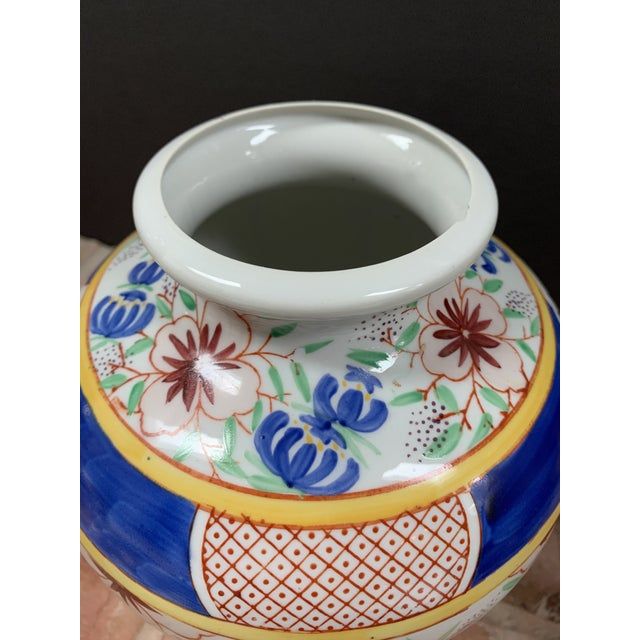 Vintage Chinese Porcelain Colorful Hand Painted Floral Vase For Sale - Image 4 of 9