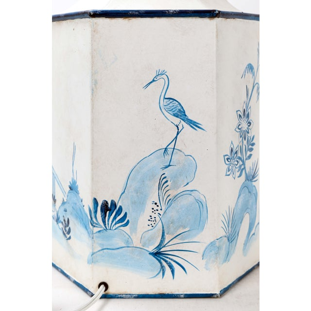 Mid 20th Century Vintage Hexagonal Blue & White Tole Tea Caddy #2 For Sale In New York - Image 6 of 10