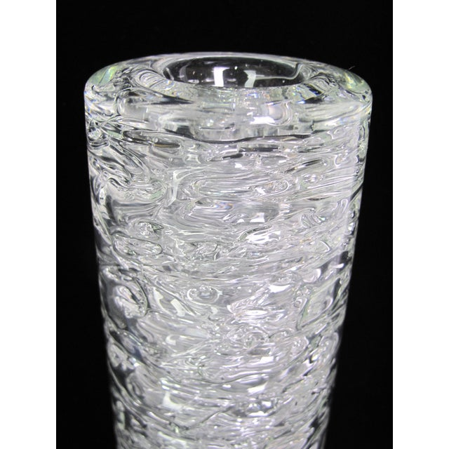 """Clear glass vase with bubble effect by Czech designer, Frantisek Vizner. Signed at base as shown. Measures 10 1/4"""" x 3..."""