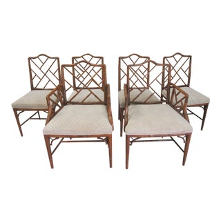 Faux Bamboo Chippendale Century Chairs- Set of 6 For Sale