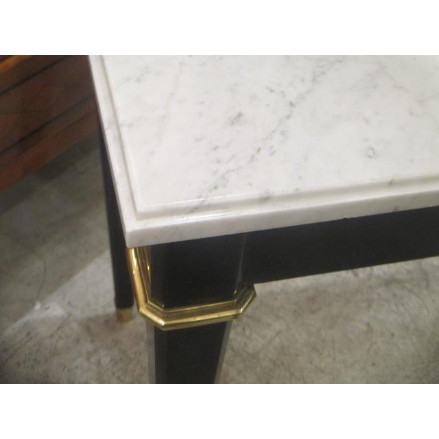 Mid 20th Century Ebonized Console With Marble Top Attributed to Maison Jansen For Sale - Image 5 of 9