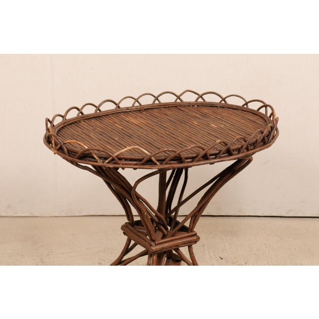 20th Century Swedish Wood Twig and Reed Oval Side Table For Sale In Atlanta - Image 6 of 12