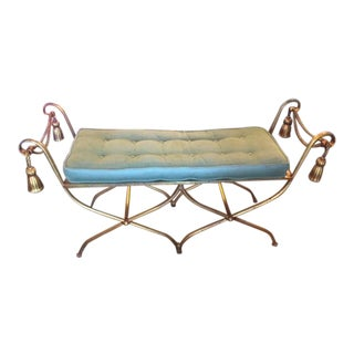 Vintage Italian Gilded Metal Tassel Motif Bench For Sale