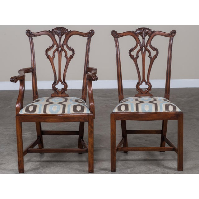 Set Eight George III Chippendale Style Mahogany Dining Chairs, Custom Stain Finish, England - Image 3 of 9
