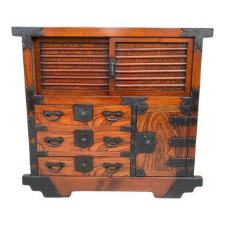 Vintage Japanese Tansu on Wheels For Sale
