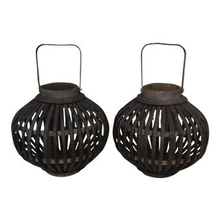 Wicker Tea Candle Baskets - A Pair
