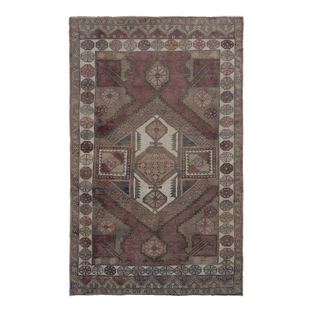 Antique Anatolian Rug in Beige-Brown Purple Tribal Geometric Pattern For Sale