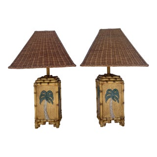 Vintage Papila Design Coastal Bamboo Wicker Table Lamps - a Pair For Sale