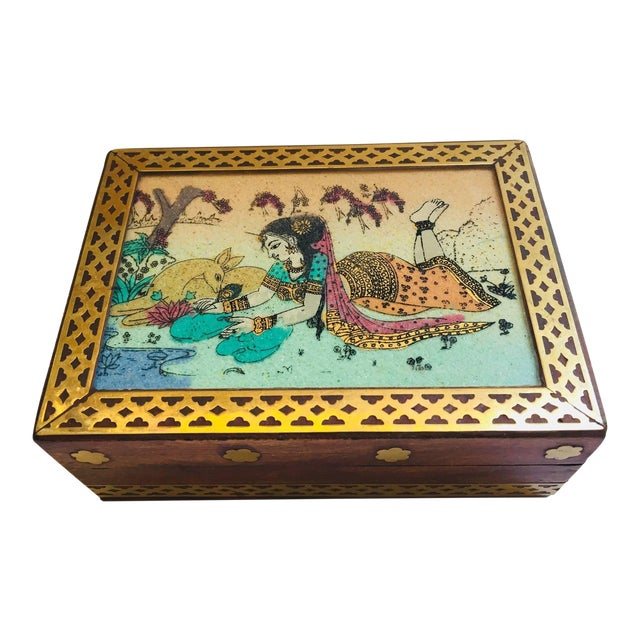 Anglo-Raj Wood and Brass Box With Hand-Painted Scene For Sale